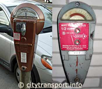 Montage of two mechanical parking meters - one with time available and one showing penalty.