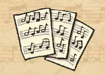 Paper with musical notes for 'writing'