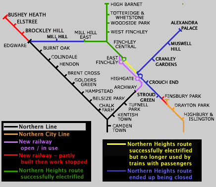 Northern Line incomplete works route map.