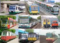 A montage of images showing examples of buses + trams + trains which share tracks (fixed infrastructure) and / or operate side-by-side along the same transport corridors.
