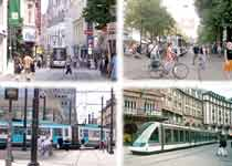 A montage of images showing trams calmly gliding through city-centre pedestrian zones.