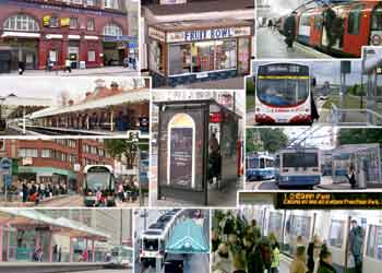 A montage of images showing bus + tram + railway stops, stations and shelters plus station platform food sales outlet.