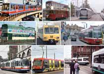 A montage of images showing British tram and light rail systems.