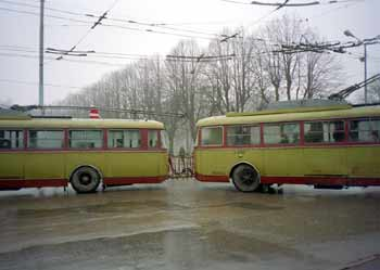 Multiple-unit trolleybuses, in Riga