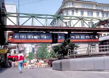 Wuppertal Schwebebahn - above the roadway.