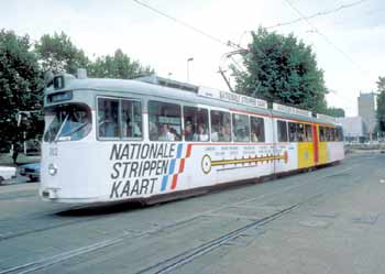 A Tram advertising the Dutch 'Strippenkaart' - see caption for full picture information.
