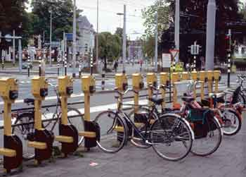 Parking meters for pedal cycles.