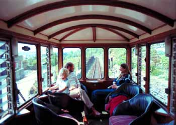 Inside the observation coach on a private (preserved) British railway.