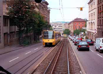 Partial light rail / other traffic segregation in Stuttgart.