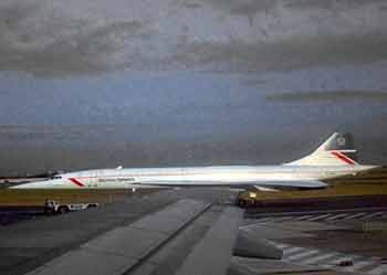 The late lamented Concorde as seen one evening from an aircraft window at Heathrow Airport.