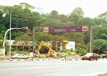 Singapore Restricted Zone entry gantry.