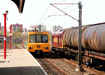Tyne and Wear Metro route sharing with mainline trains.