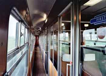 Passenger Compartment Side Corridor On A British Mk2 Train.
