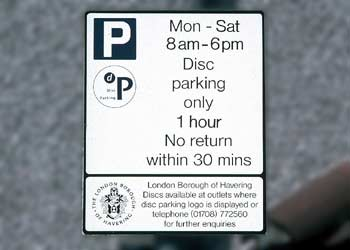 British 'disc parking' sign.