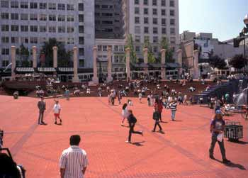 Pioneer Courthouse Square Portland Oregon.