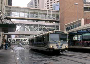 Single unit light rail service on street trackage.