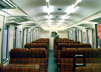 Inside refurbished Class 307 fully open carriage.