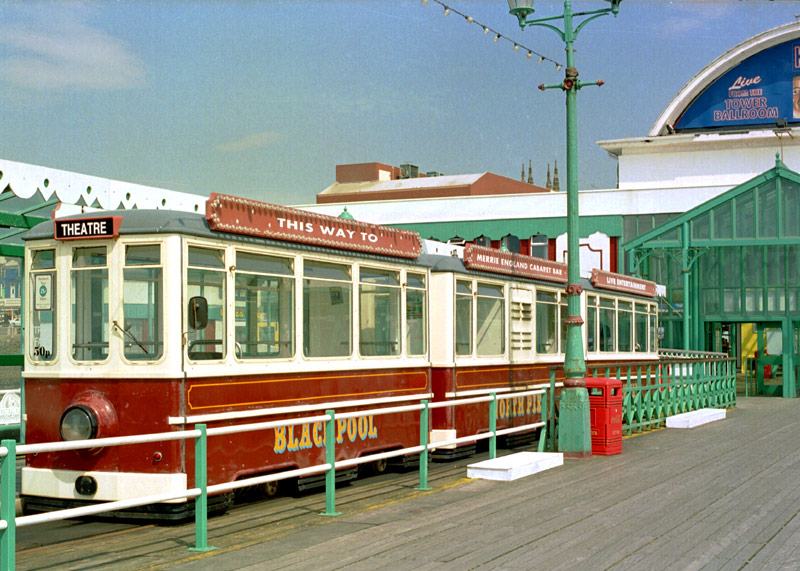 Diesel tram on Blackpool's North Pier.