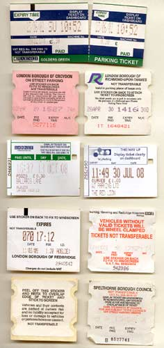 Pay and Display parking tickets.
