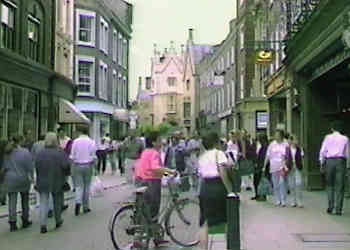 The pedestrian zone in Cambridge city centre.